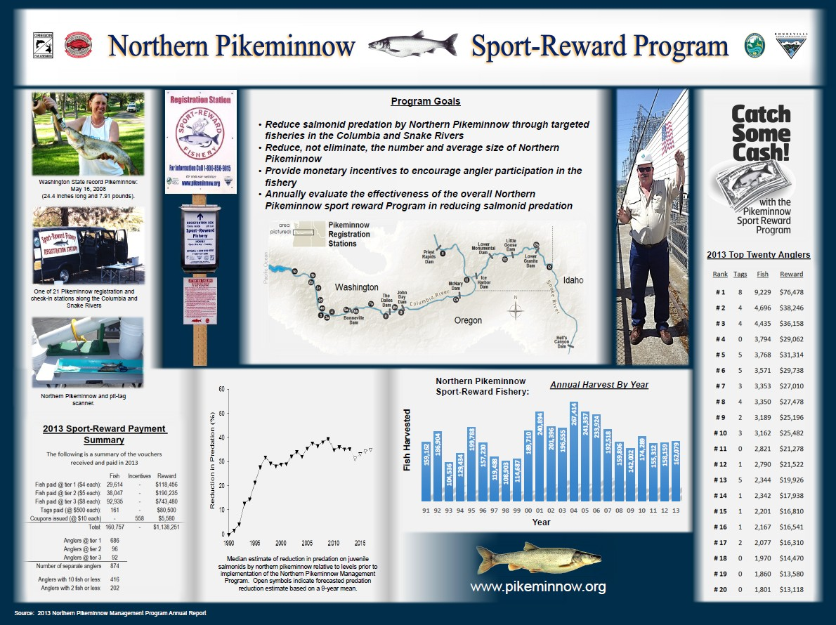 Learn more about the Northern Pikeminnow Sport-Reward Program at http://www.pikeminnow.org